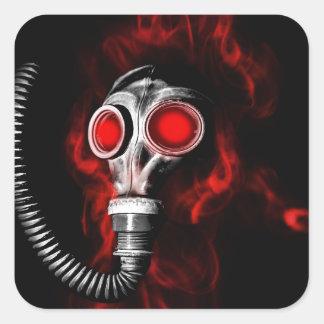 Adesivo Quadrado Máscara de gás