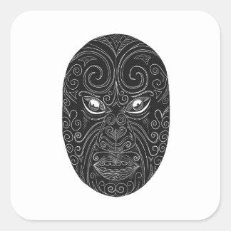 Adesivo Quadrado Máscara maori Scratchboard