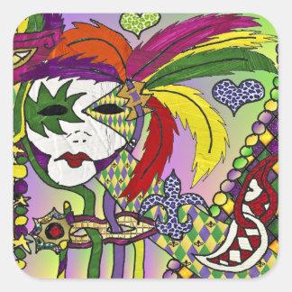 Adesivo Quadrado Máscara psicadélico da pena do carnaval