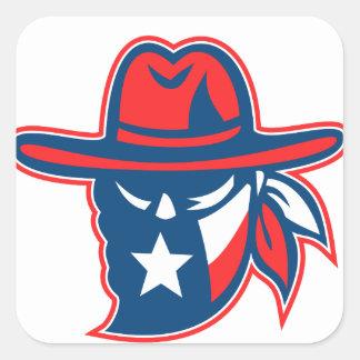 Adesivo Quadrado Mascote foragido da bandeira de Texas do Texan