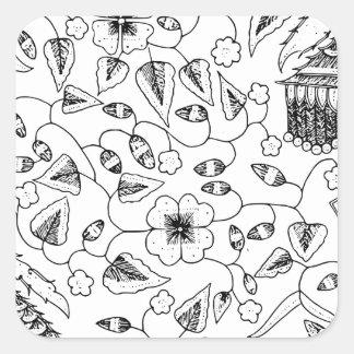 Adesivo Quadrado Matéria têxtil indonésia florido com pássaros