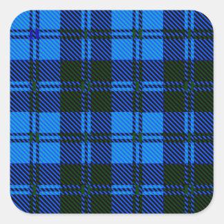 Adesivo Quadrado Material azul de lãs do Tartan