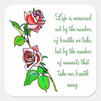 Adesivo Quadrado Medida dos rosas da vida