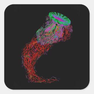 Adesivo Quadrado Medusa nas cores de néon