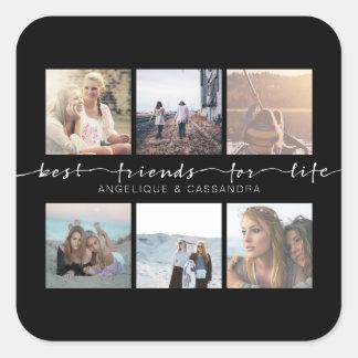 Adesivo Quadrado Melhores amigos para a tipografia da foto de