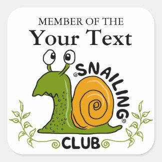 Adesivo Quadrado Membro de clube de Snailing