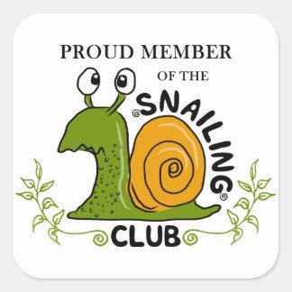 Adesivo Quadrado Membro orgulhoso do clube de Snailing