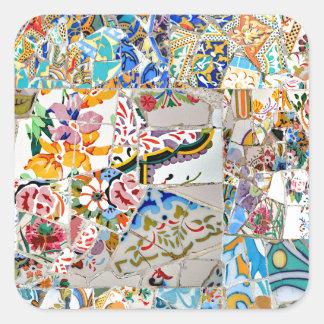Adesivo Quadrado Memórias. Parque Güell. Grande mosaico. Parte 1.
