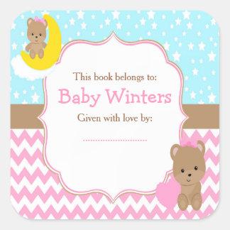 Adesivo Quadrado Menina bonito dos ursos com o Bookplate do chá de