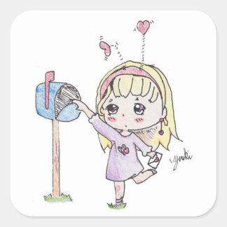 Adesivo Quadrado menina da caixa postal