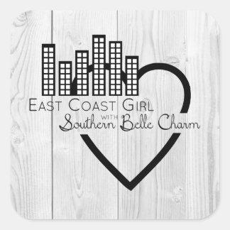 Adesivo Quadrado Menina da costa leste com encanto do sul do Belle
