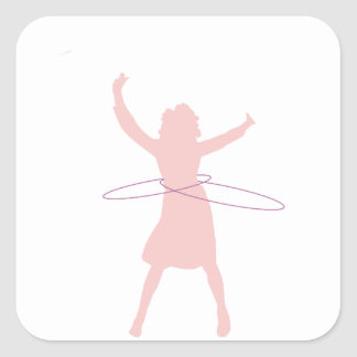Adesivo Quadrado menina de hula