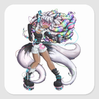 Adesivo Quadrado Menina de Kitsune do Cyber