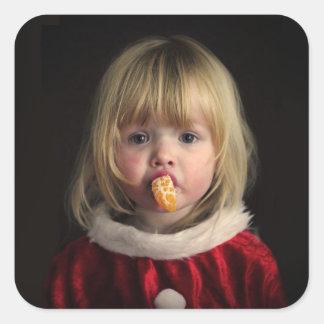 Adesivo Quadrado Menina do Natal - criança do Natal - menina bonito
