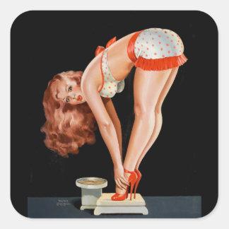 Adesivo Quadrado Menina retro engraçada do pinup em uma escala do