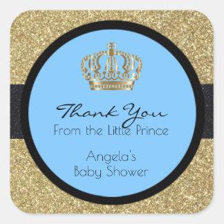Adesivo Quadrado Menino azul do príncipe chá de fraldas pequeno