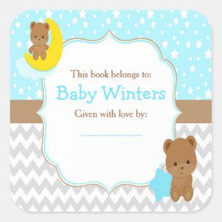 Adesivo Quadrado Menino bonito dos ursos com o Bookplate do chá de