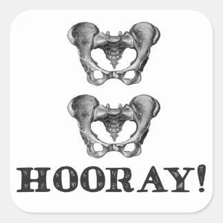 Adesivo Quadrado Mensagem anca da anatomia do quadril Hooray