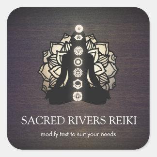 Adesivo Quadrado Mestre de Lotus Chakra Reiki do ouro e professor
