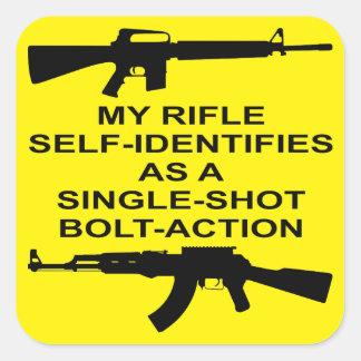 Adesivo Quadrado Meu auto do rifle identifica como um ato do