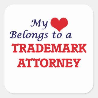 Adesivo Quadrado Meu coração pertence a um advogado da marca