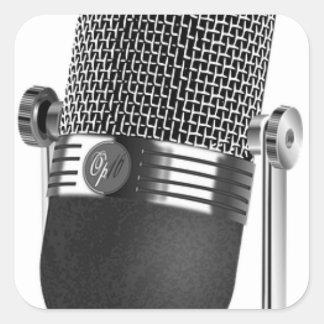 Adesivo Quadrado Microfone clássico