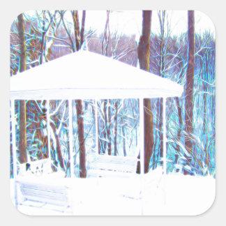 Adesivo Quadrado Miradouro no inverno