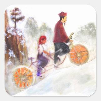 Adesivo Quadrado MIRIAM - Liu Xiang's tandem cycle