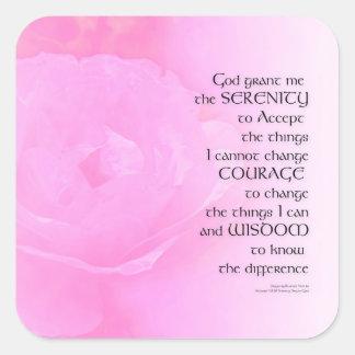 Adesivo Quadrado Mistura do rosa do rosa da oração da serenidade