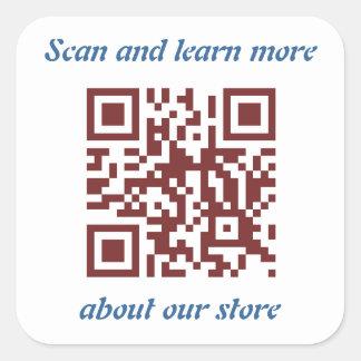 Adesivo Quadrado Modelo da informação da loja do código de QR