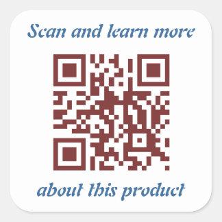 Adesivo Quadrado Modelo da informação de produto do código de QR