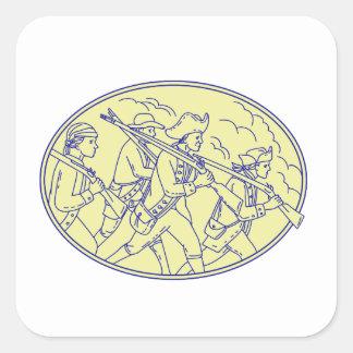 Adesivo Quadrado Mono oval de marcha dos soldados revolucionários