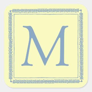 Adesivo Quadrado Monograma azul e de creme de Little Boy da
