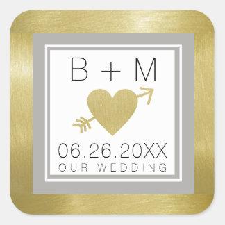 Adesivo Quadrado monograma clássico elegante do amor, casamentos