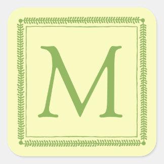 Adesivo Quadrado Monograma da grinalda das hortaliças e do creme do