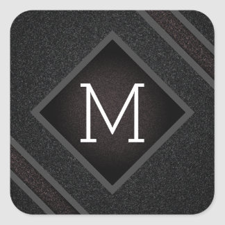 Adesivo Quadrado Monograma de pedra preto corajoso moderno da