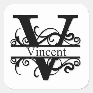 Adesivo Quadrado Monograma de Vincent V
