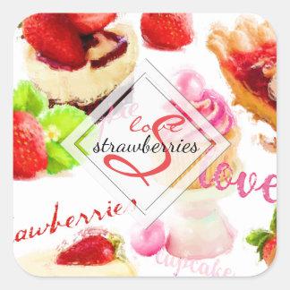 Adesivo Quadrado Monograma do amor dos doces da morango da aguarela