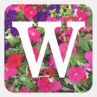 Adesivo Quadrado Monograma enorme branco da foto das flores