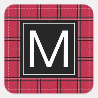 Adesivo Quadrado Monograma moderno da xadrez preta vermelha rústica