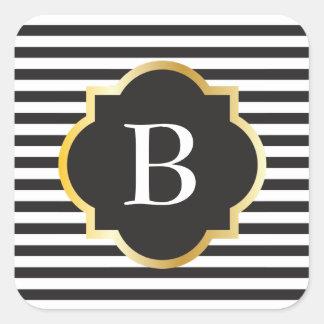 Adesivo Quadrado Monograma preto e branco chique do ouro da listra