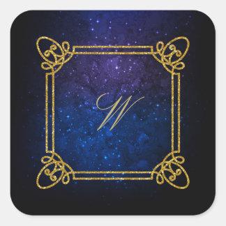 Adesivo Quadrado Monograma quadrado moderno na galáxia azul
