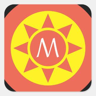 Adesivo Quadrado Monograma rubricado de Sun brilho amarelo &