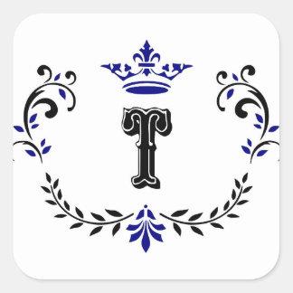 Adesivo Quadrado Monograma 'T da grinalda da coroa
