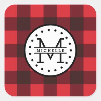 Adesivo Quadrado Monograma vermelho do nome do lenhador da xadrez