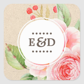 Adesivo Quadrado Monogramas florais da aguarela | que Wedding