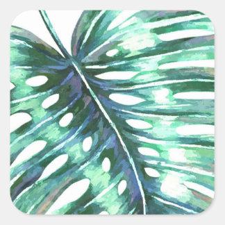 Adesivo Quadrado Monstera deixa a folha tropical do verão