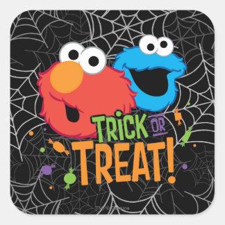Adesivo Quadrado Monstro do biscoito e Elmo - doçura ou travessura