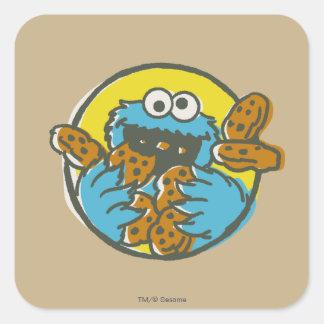 Adesivo Quadrado Monstro do biscoito retro