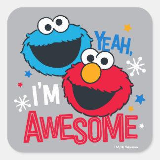 Adesivo Quadrado Monstro & Elmo do biscoito | yeah, eu sou
